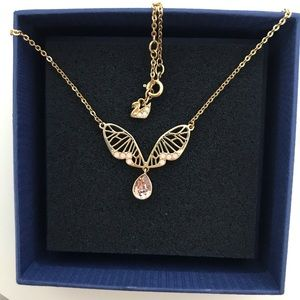 Swarovski Pink Crystal Butterfly Necklace